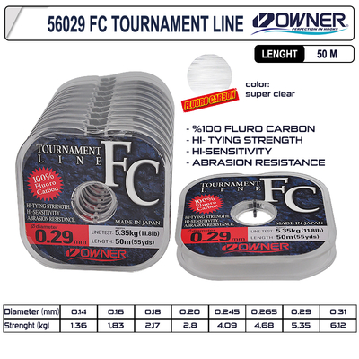 OWNER - Owner 56029 Tournament Fc 50m Super Clear Fluorocarbon Misina