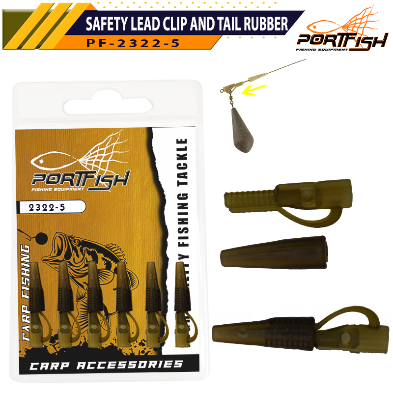 Portfish 2322-5 Safety Lead Clip and Tail Rubber 6 Adet