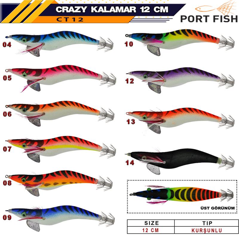 Portfish Crazy Kalamar Zokası Kurşunlu 12 cm