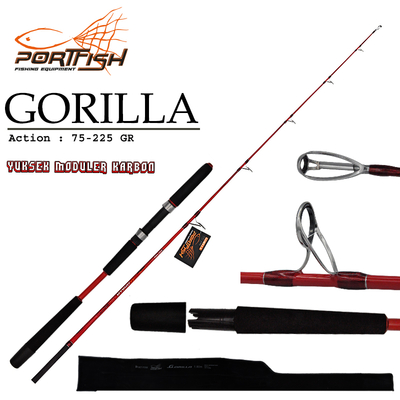 PORTFISH - Portfish Gorilla Jig Kamışı 180 cm 75-225 gr 2 Parça