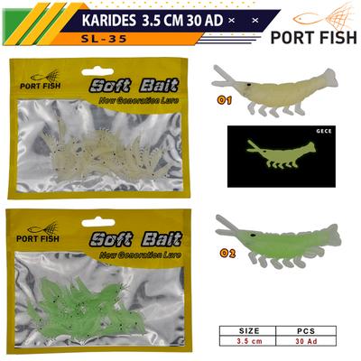 PORTFISH - Portfish Karides Silikon Yem 3.5 cm 30 Adetli