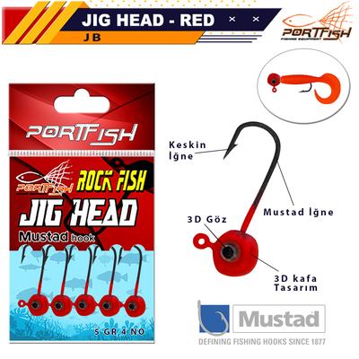 PORTFISH - Portfish Jig Head Lrf Kırmızı Gözlü 5 Li Pkt